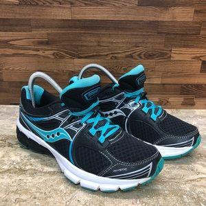 SAUCONY Grid Mystic  Black Aqua blue sneakers 7.5